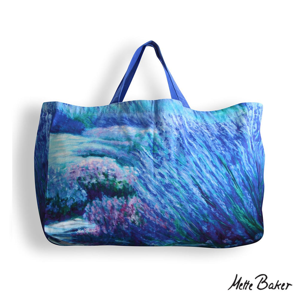 Beach Bag - Lavender Garden pattern