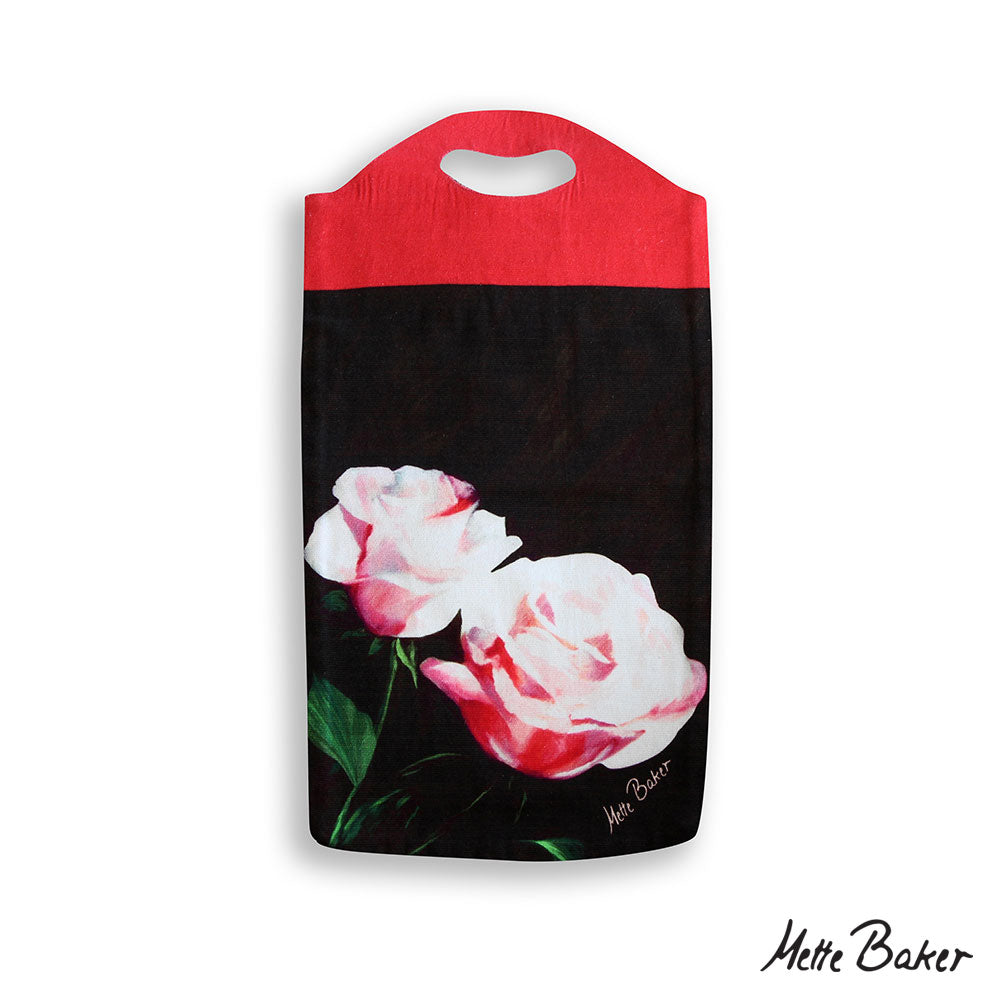 Tote bag. Pink Roses on dark background