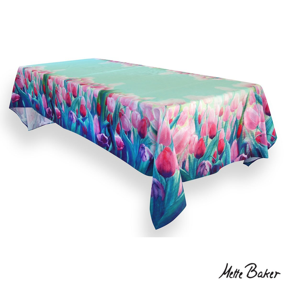 tablecloth with pink tulips and turquoise