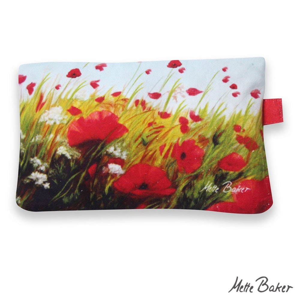 Cosmetic pouch red poppies in field