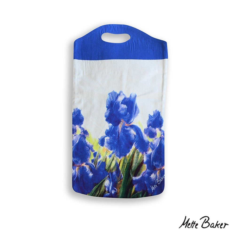 white tote bag with blue handle and blue irises