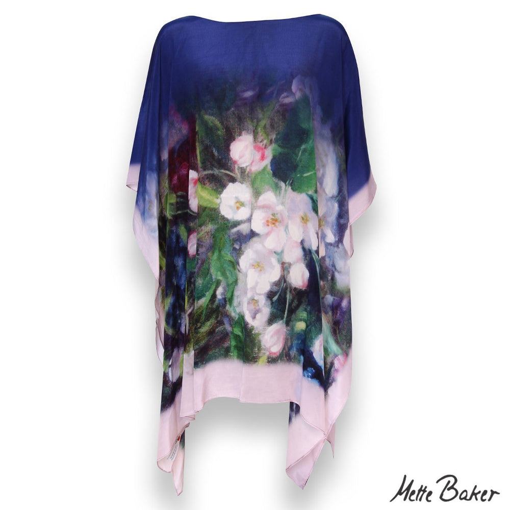 beautiful Kaftan with pink apple blossoms on dark blue background