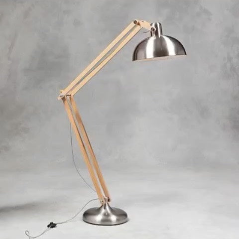 This contemporary floor lamp glows...