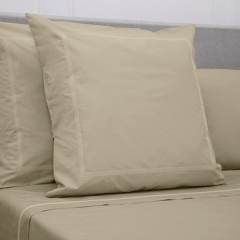 Percale Four Row Cord Taupe Taupe Decorative Pillowcase
