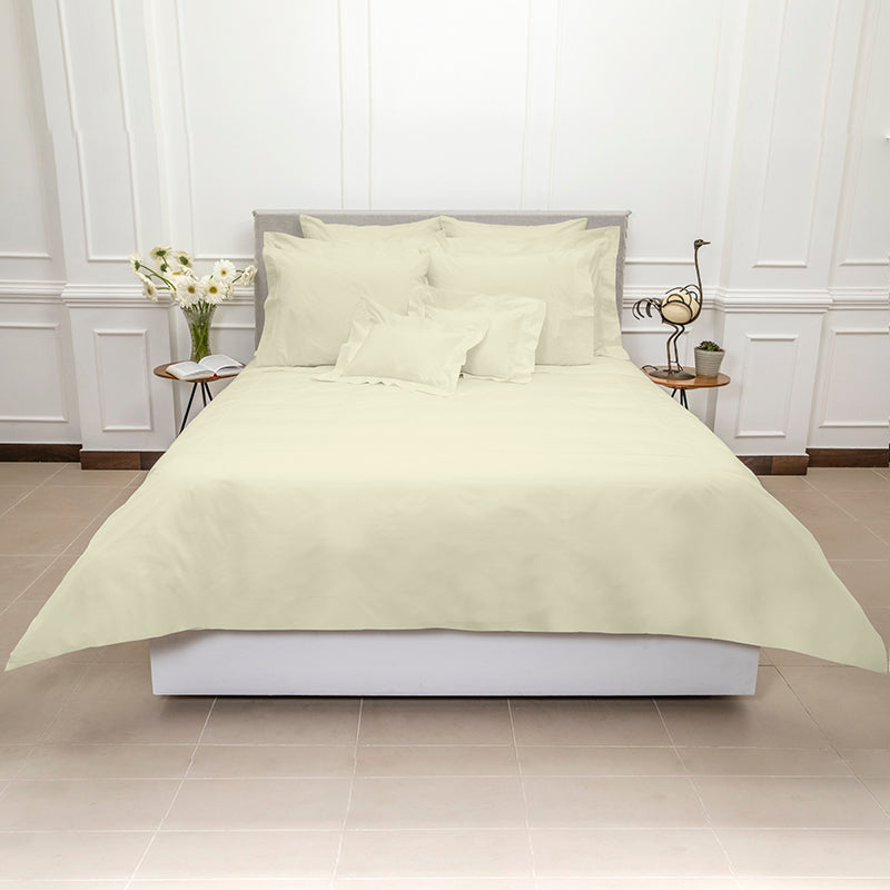 Percale Four Row Cord Ivory Ivory Duvet Cover