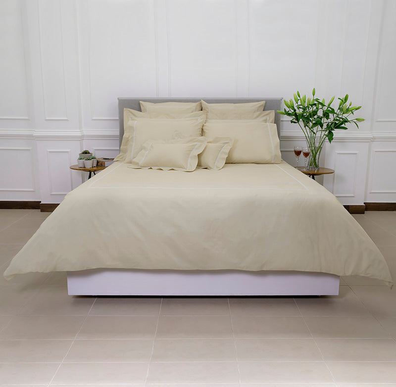 Percale Four Row Cord Taupe White Duvet Cover