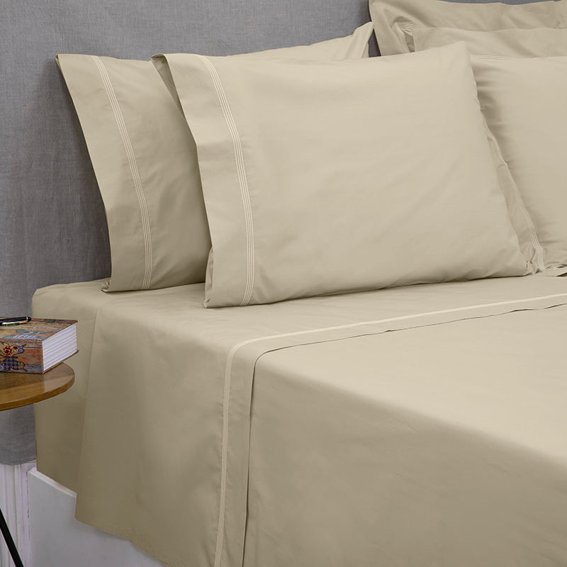 Percale Four Row Cord Taupe Taupe Sheet Set
