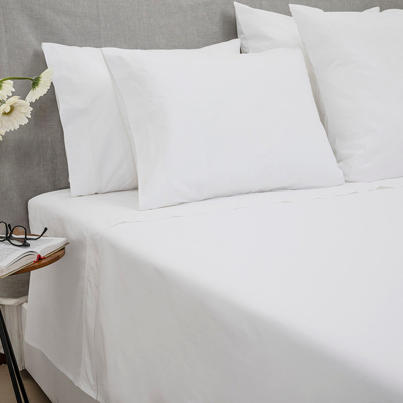 Percale Four Row Cord White White Sheet Set