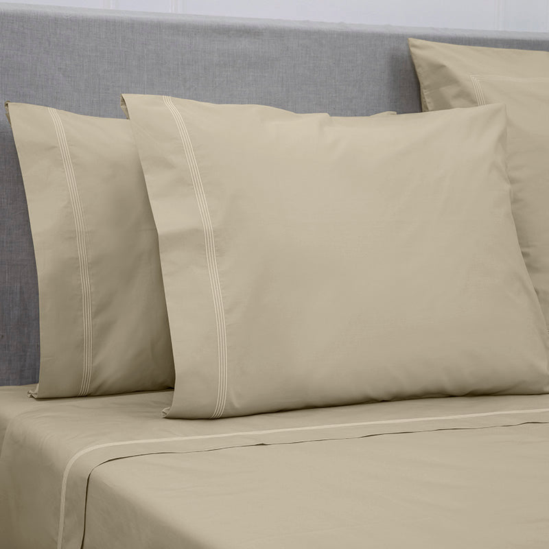 Percale Four Row Cord Taupe Taupe Standard Pillowcase
