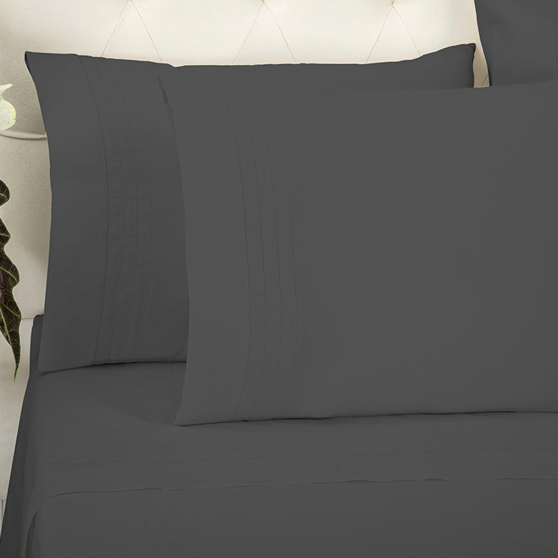 Sateen Grafton Charcoal Standard Pillowcase