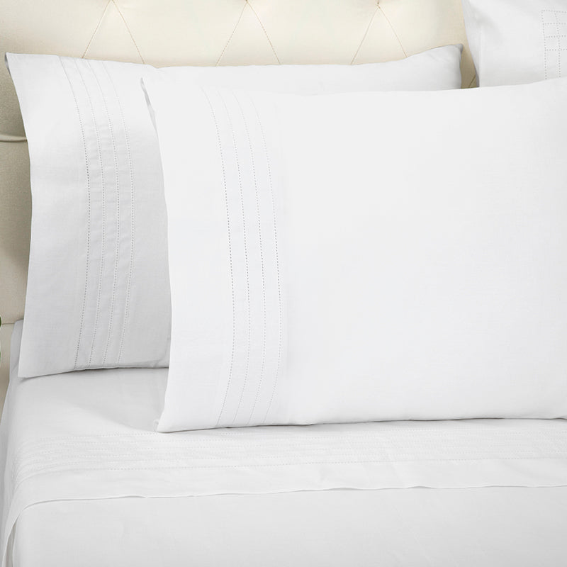 Sateen Grafton White Standard Pillowcase