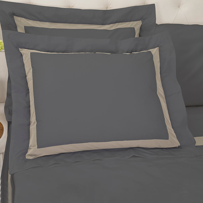 Sateen Kilkeel Charcoal Taupe Oxford Pillowcase