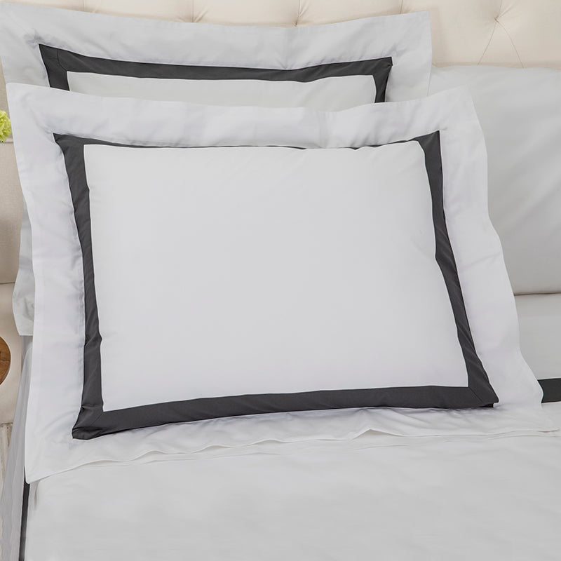 Sateen Kilkeel Glacier Grey Charcoal Oxford Pillowcase