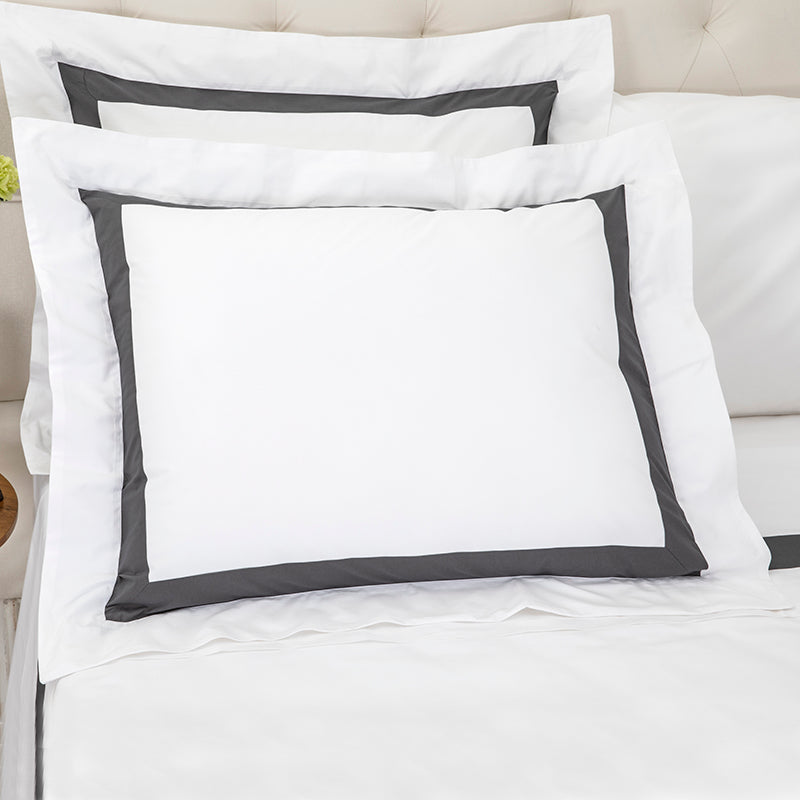 Sateen Kilkeel White Charcoal Oxford Pillowcase