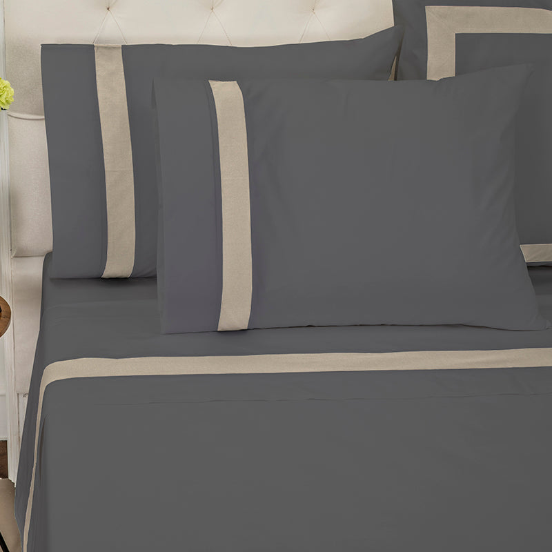 Sateen Kilkeel Charcoal Taupe Sheet Set