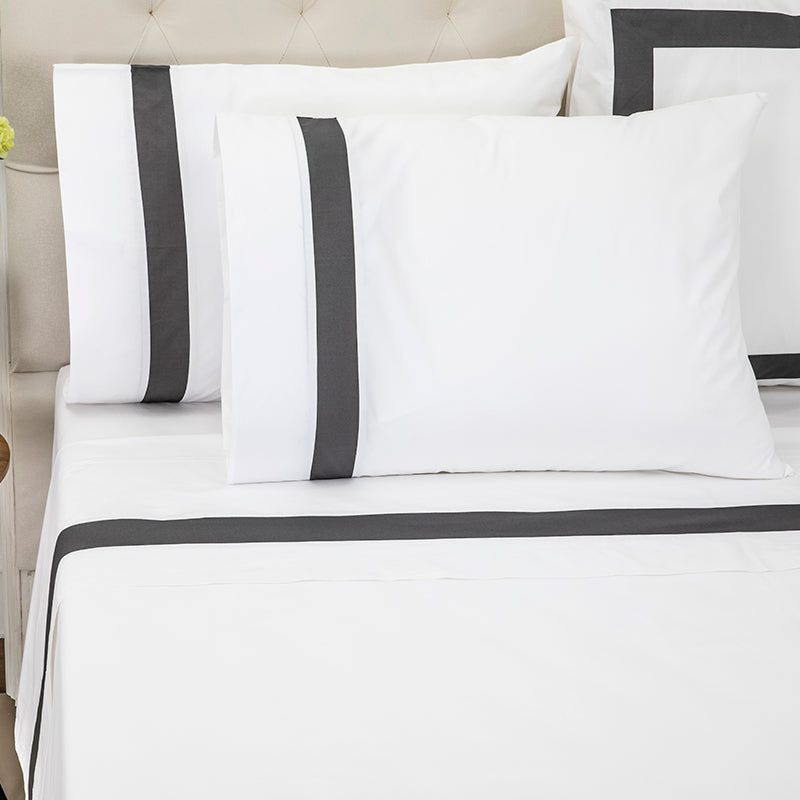 Sateen Kilkeel White Charcoal Sheet Set