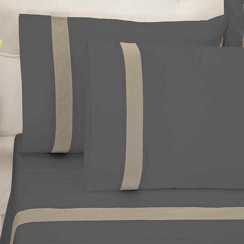 Sateen Kilkeel Charcoal Taupe Pillowcase