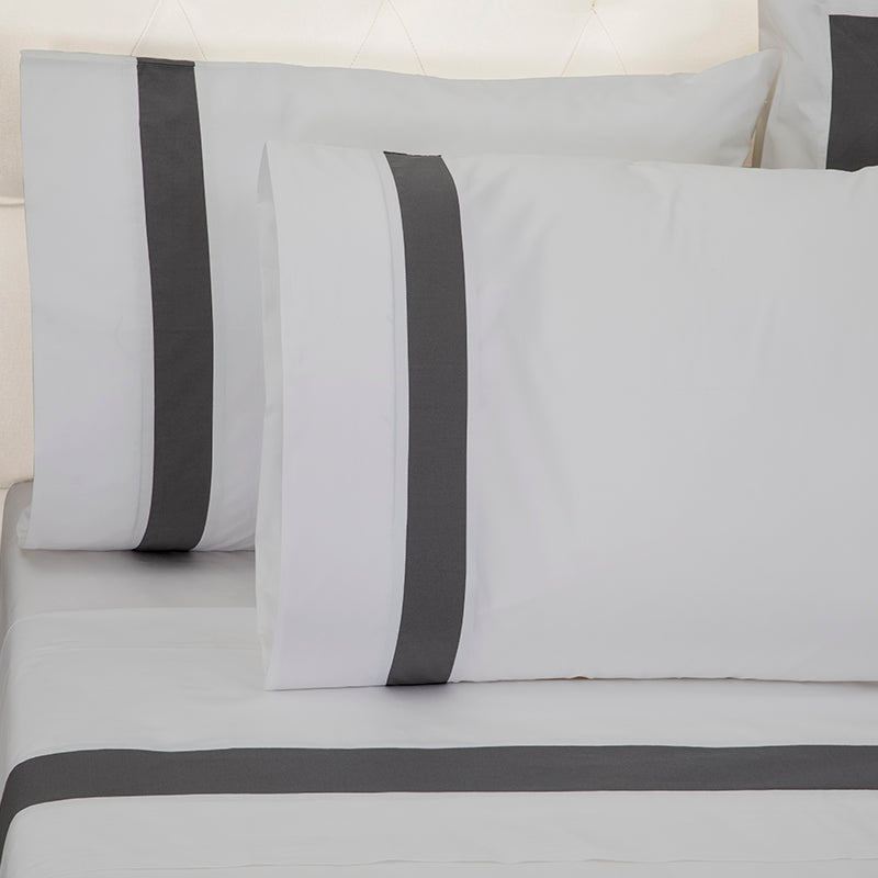 Sateen Kilkeel Glacier Grey Charcoal Standard Pillowcase
