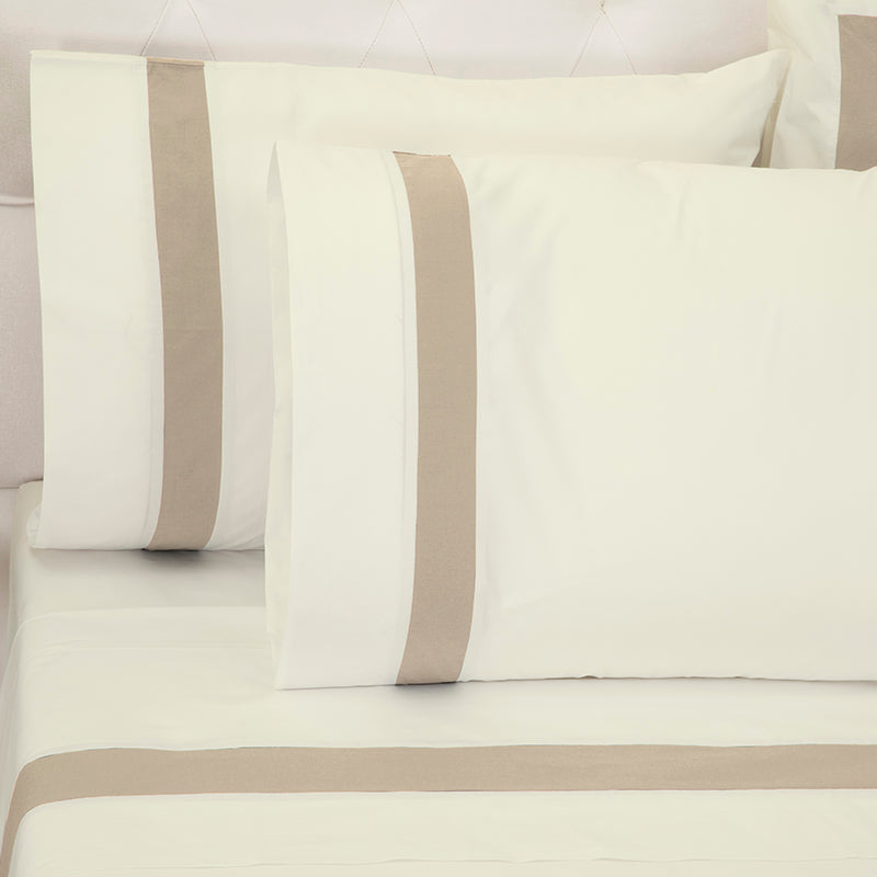 Sateen Kilkeel Taupe Ivory Standard Pillowcase