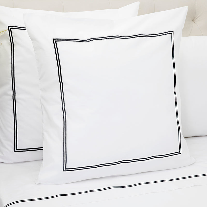 Percale Two Row Satin Cord White Black Decorative Pillowcase