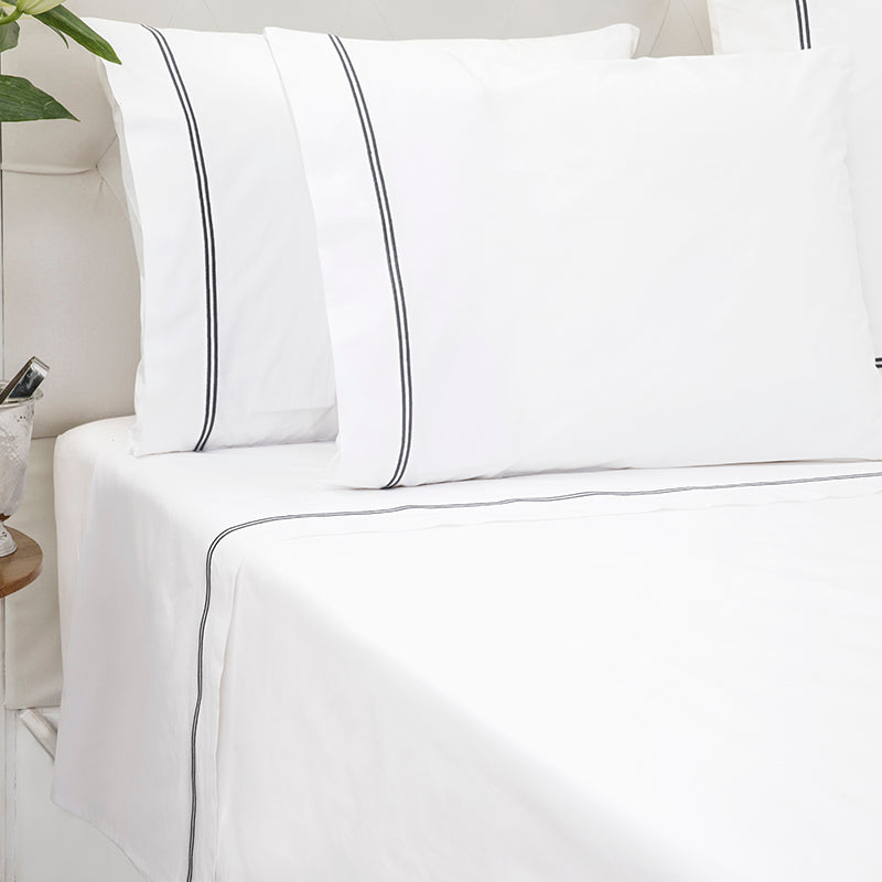 Percale Two Row Satin Cord White Charcoal Sheet Set