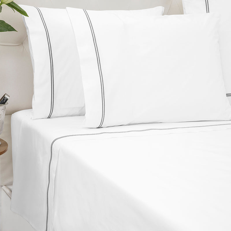 Percale Two Row Satin Cord White Grey Sheet Set