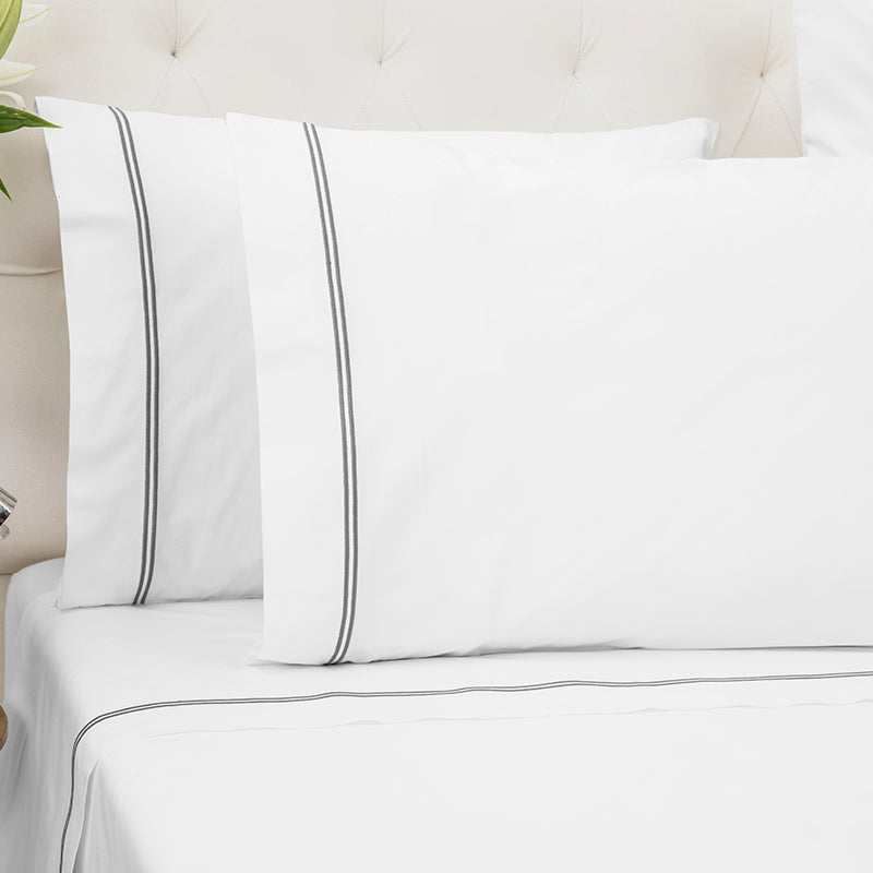 Percale Two Row Satin Cord White Grey Standard Pillowcase