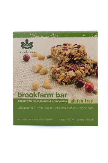 Brookfarm Bar: Gluten Free with Cranberry & Macadamia 4 pack x 35G