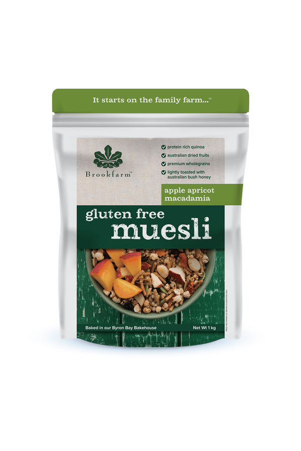 Brookfarm Gluten Free Macadamia Muesli with Apple & Apricot 1 KG