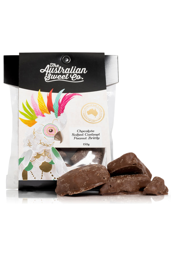Australian Sweet Co Chocolate Salted Caramel Peanut Brittle 150 G
