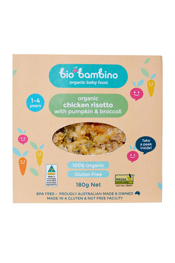 Bio Bambino Organic Chicken Risotto with Pumpkin and Broccoli 180 G
