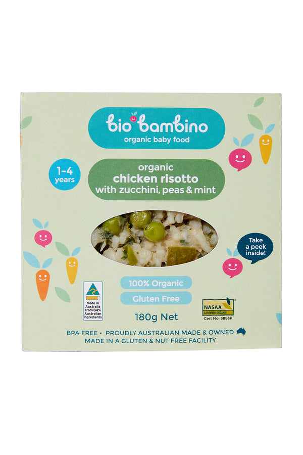 Bio Bambino Organic Chicken Risotto with Zucchini, Peas and Mint 180 G