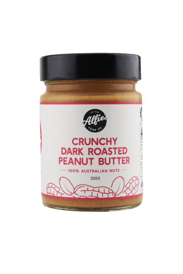 Alfie's Food Co Crunchy Dark Roasted Peanut Butter 300 G