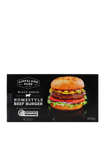 Gippsland Pure Black Angus Homestyle Beef Burger 4 Pack 600 G