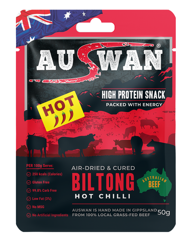 Auswan Biltong Hot Chilli Meat Snack 50 G