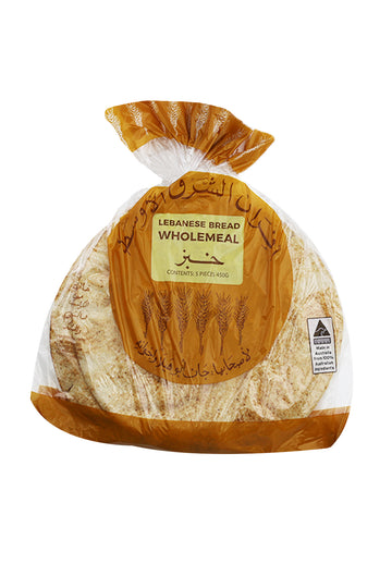 Meb Foods Lebanese Bread Wholemeal 450 G