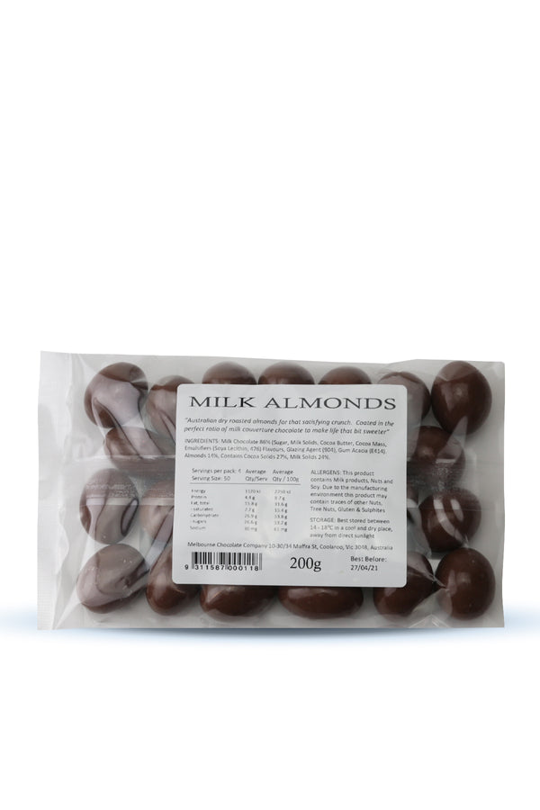 The Melbourne Chocolate Company Milk Almonds 200 G