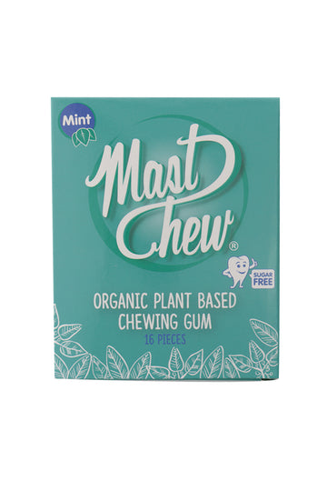 Mast Chew Organic Plant Based Mint Chewing Gum Sleeve 8 Pieces