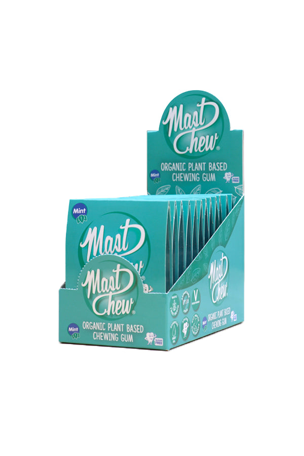 Mast Chew Organic Plant Based Mint Chewing Gum Sleeve Pack 12 Units