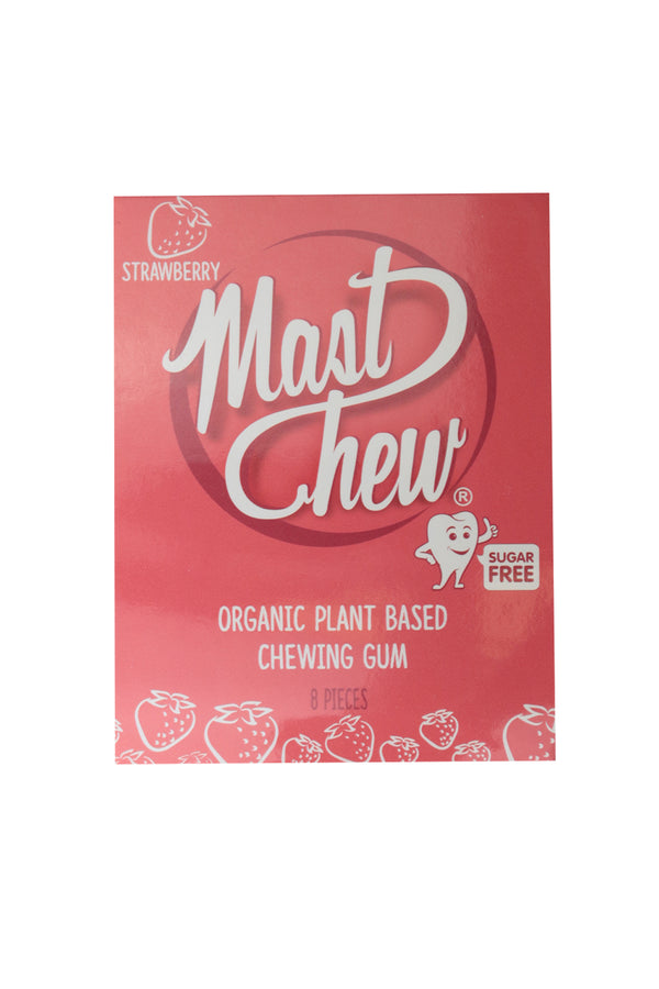 Mast Chew Organic Plant Based Strawberry Chewing Gum 8 Pieces