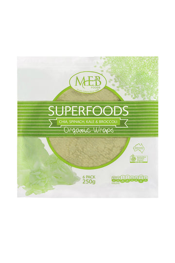 Meb Foods Superfoods Organic Wraps-Chia, Spinach, Kale & Broccoli 250g