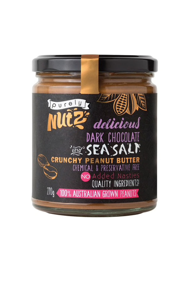 Purely Nutz Delicious Dark Chocolate and Sea Salt Crunchy Peanut Butter 270 G