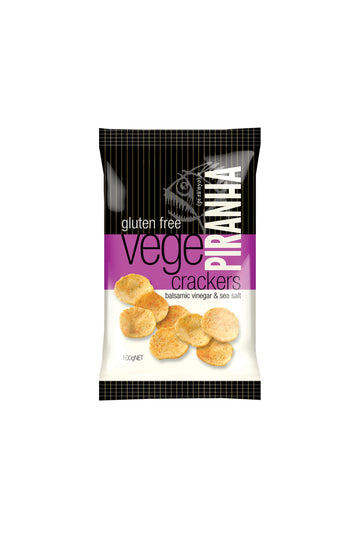 Piranha Vege Crackers Balsamic Vinegar & Sea Salt Gluten Free 100 G