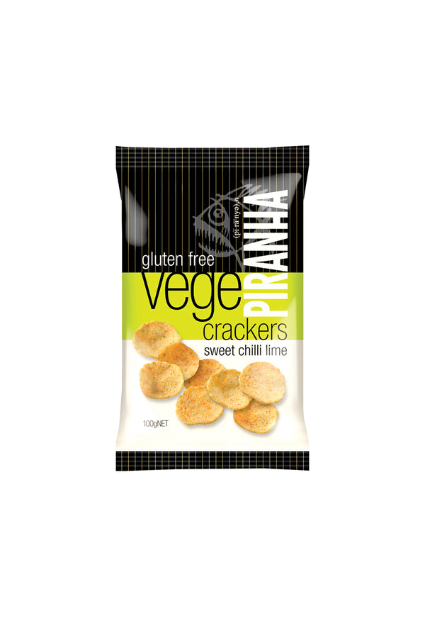 Piranha Vege Crackers Sweet Chilli Lime Gluten Free 100 G