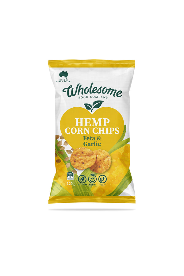 Wholesome Food Company Hemp Corn Chips Feta & Garlic 120g