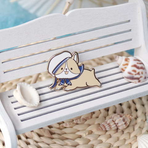 Sailor Corgi Enamel Pin