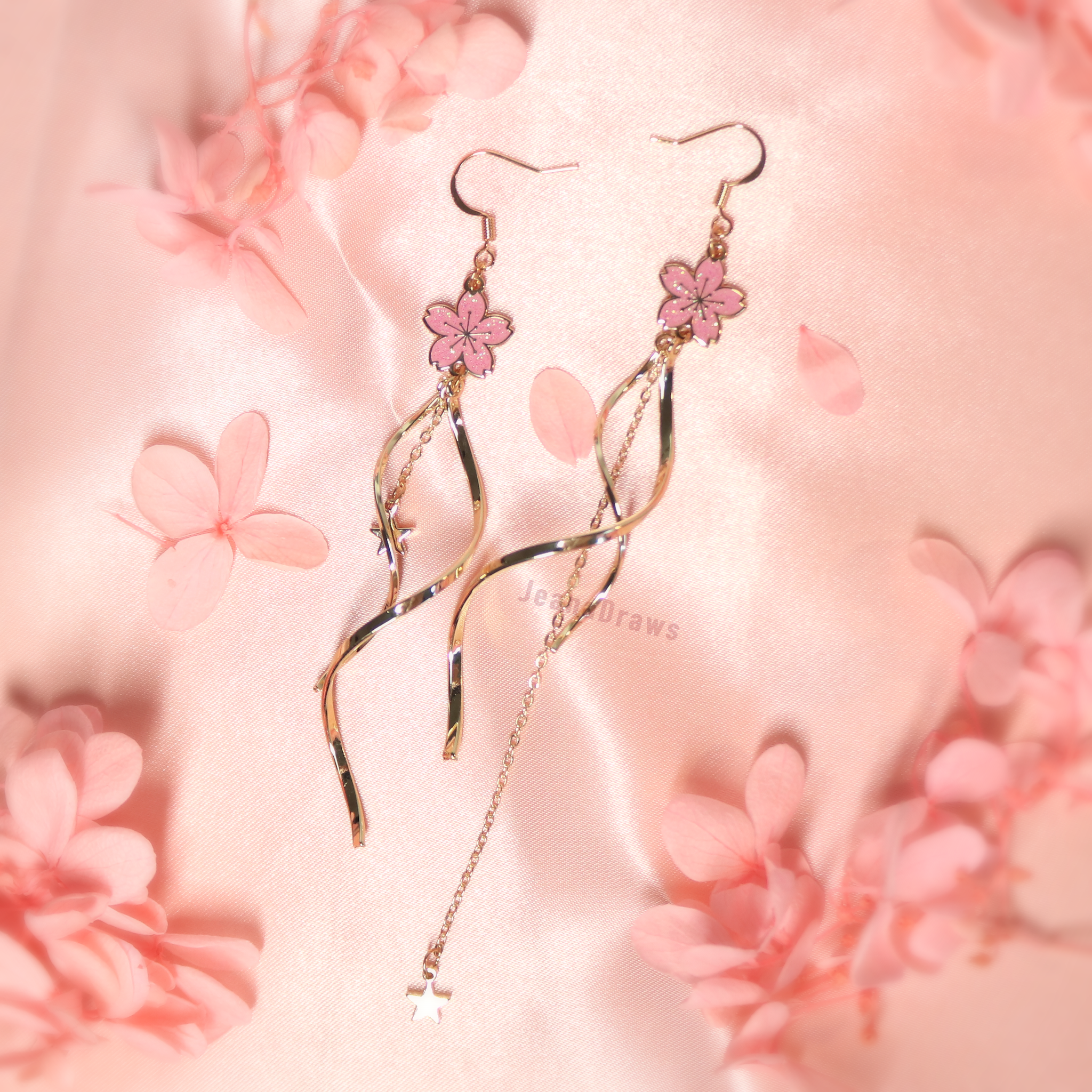Asymmetrical Sakura Dangle Earrings