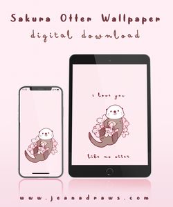 Sakura Otter Wallpaper [Digital Download]