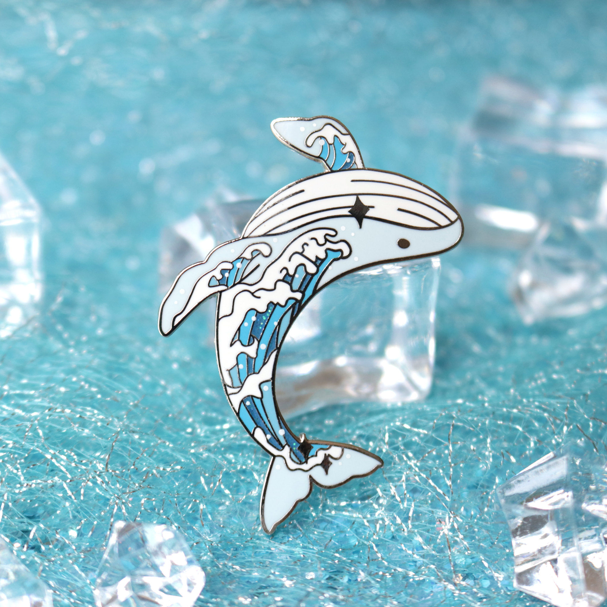 Wave Whale Enamel Pin