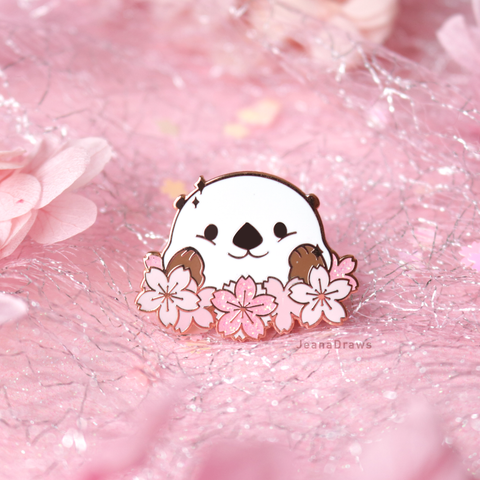 Wreath Otter Enamel Pin